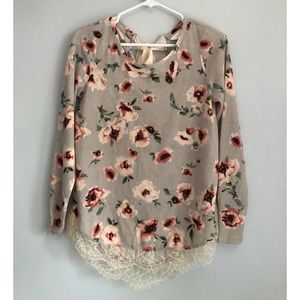 LC Lauren Conrad Lightweight Floral Sweater XS